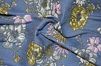 Ткань Джинс синий цветы