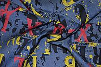Ткань Джинс синий буквы