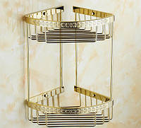 Полка для ванной Angular Pattern Double Gold
