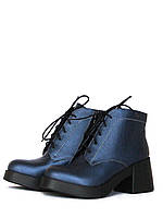 Синие кожаные ботинки