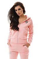 Костюм спортивный нежно-розовый с кожаными вставками с капюшоном