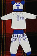 Детский теплый комплект с начесом: кофточка, штанишки и шапочка