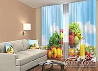 """ФотоШторы """"Фрукты и овощи"""" 2,5м*2,0м (2 половинки по 1,0м), тесьма"""