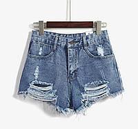 Темные рваные джиносовые шорты