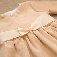 Платье Бусинка велюровое для девочки кофейного цвета