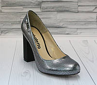 Стильные туфли-лодочки. Благородное серебро.  Натуральная кожа. 0679