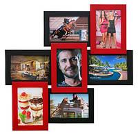 Коллаж для 7 фото 10х15 см «Тоскана - красное и черное» (натуральное дерево)