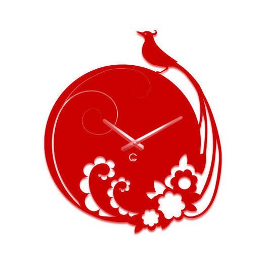 Часы На Стену (40смх35см) Peacock Красные [Акрил, Открытые]