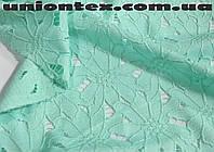 Ткань гипюр ментоловый плотный (от 10 метров)
