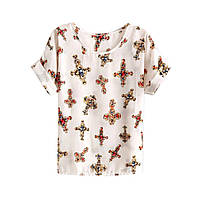 Белая шифоновая блузка / футболка с крестами