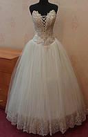Кремово-золотое новое свадебное платье для настоящей невесты, размер 46-50