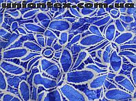 Ткань гипюр цветы электрик с белым (от 10 метров)