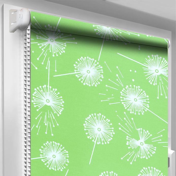 Рулонная штора DecoSharm Цветы 5428/7 Зелёная