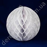 Бумажный шар-соты, белый, 25 см