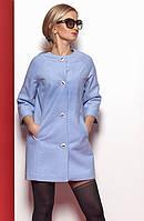Женское короткое пальто из эко-шерсти голубого цвета. Модель 375.