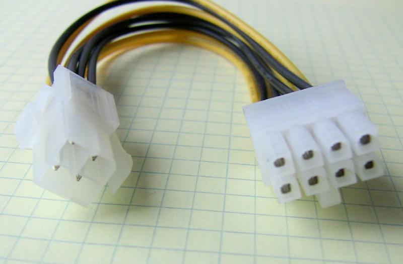 Переходник питания 4pin на 8 pin 25см