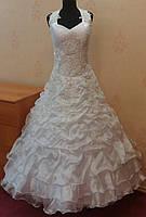 Необычное белое свадебное платье для пышной красоты, размер 50-56 (б/у)