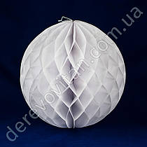 Бумажный шар-соты, белый, 20 см