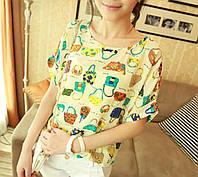 Гламурная шифоновая блузка / футболка с сумочками бежевая