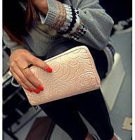 Женский кошелек в стиле Шанель нежно-розовый