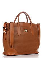 Женская большая сумка из натуральной кожи коричневая