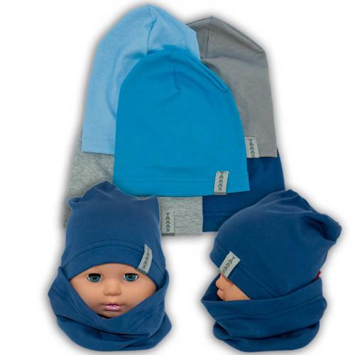 Трикотажные шапки детские с хомутом и принтом, Y80