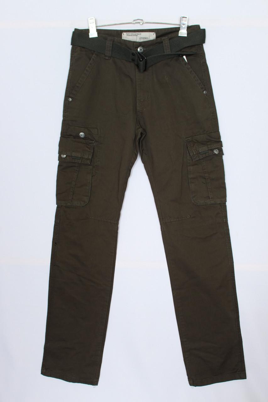 """Мужские джинсы карго прямые,цвет - хаки """"Iteno"""" (размеры 30-38 )"""