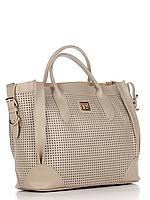 Женская большая сумка из натуральной кожи серая
