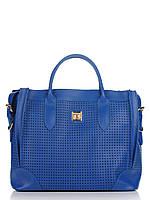 Женская большая сумка из натуральной кожи синяя