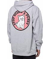 Худи Ripndip Don't Be A Pussy серое с логотипом, унисекс (мужское, женское, детское)