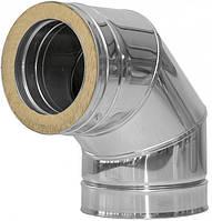 Колено для дымохода из нержавеющей стали AISI 304  в нержавеющем кожухе