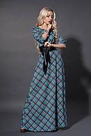 Красивое платье в косую клетку с широким поясом