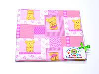 Фланелевые (байковые) пеленки (розовая с мишками)