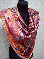 Платок S HERMES шёлк с красной окантовкой