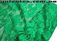 Ткань гипюр стрейчевый розы зеленый