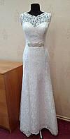 Нежное белое новое свадебное платье из гипюра, А-силуэт, размер 40-44