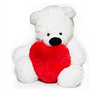 Мишка с сердцем 55 см. Белый мишка. Плюшевый мишка. Мишка в подарок. Подарок. Мягкий подарок. Мишка белый.