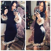 Платье отделка натуральный мех енот