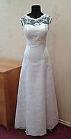 51.2 Нежное белое свадебное платье из гипюра с вышивкой, А-силуэт, размер 44