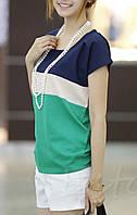 Блузка трикалор белая синяя зеленая шифоновая