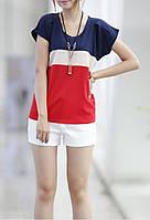 Блузка трикалор шифоновая красная синяя белая