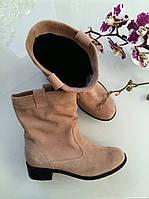 Замшевые женские сапоги бежевые зима/демисезон на выбор