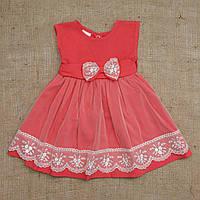 Платье кораллового цвета с кружевной отделкой 74, 80, 86