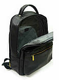 Рюкзак кожаный мужской чёрный 31143, фото 2