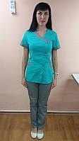 Женский медицинский костюм на пуговицах (короткий рук) 42, Салат/серый
