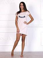 Стильное домашнее платье, ночная сорочка красивого цвета розовый меланж 593.