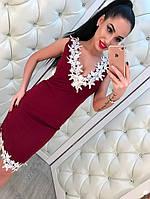 Трикотажное платье миди с кружевом, фото 1