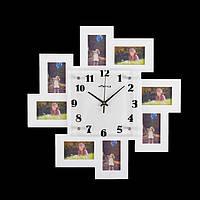 """Часы настенные """"Норд"""", d=50 см, белые + 8 фоторамок 6 × 10 см"""
