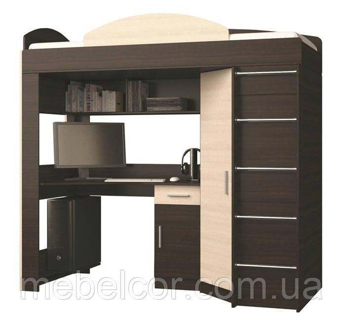 """Кровать со столом и шкафом """"Кровать-чердак"""""""