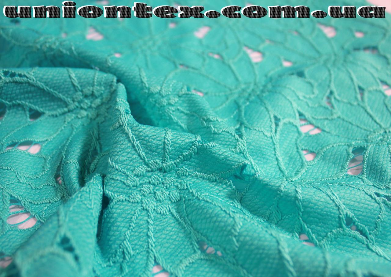 Ткань гипюр бирюзовый плотный (от 10 метров)